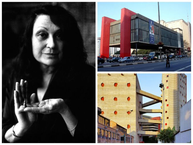 Lina, o MASP e o SESC Pompeia. Foto: reprodução. (http://www.bontempo.com.br/arquitetos/mulheres-historia-arquitetura-dia-internacional-da-mulher-zaha-hadid-lina-bo-bardi-kazuyo-sejima-jeanne-gang-marion-mahony-griffin/)